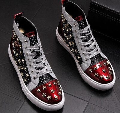 Men brand designer rivet American flag shoes Causal