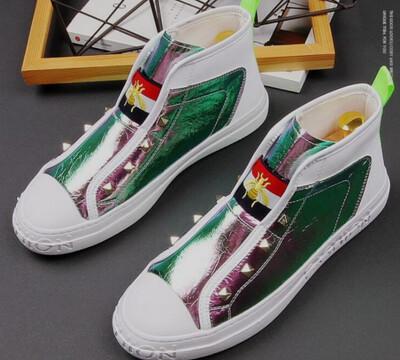 Street trendsetter Glitter Rhinestone zipper Casual Flats shoes