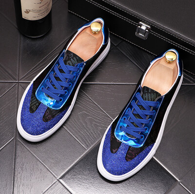 High quality New Men blue rhinestone causal flat canvas