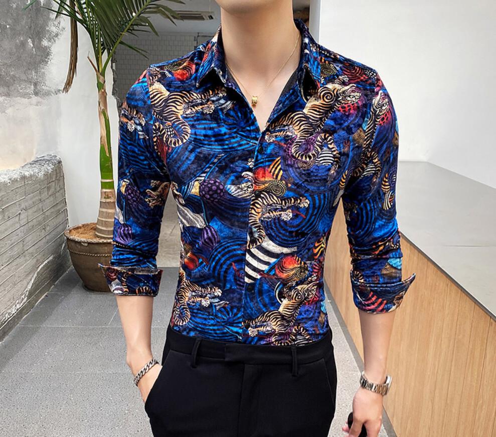 Camisa Tigre Slim Fit Hombre Korean Style