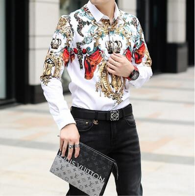 Camisas Retro de marca de lujo para Hombres Korean Style