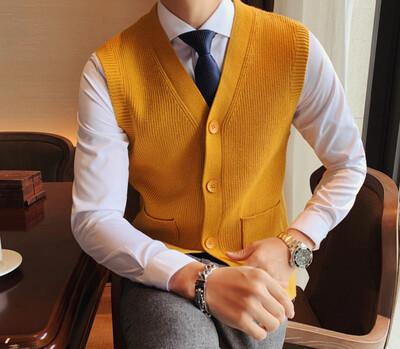 Chaleco de estilo británico con cuello en V Hombres Korean Style