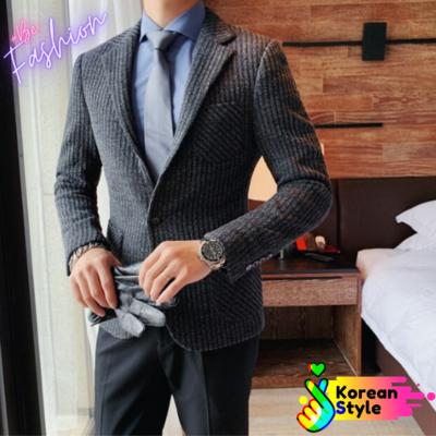 Fit Casual Suede Blazer chaqueta de los hombres  Korean Style