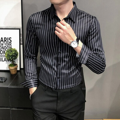 Formal Wear hombres rayas camisas de manga larga  Korean Style