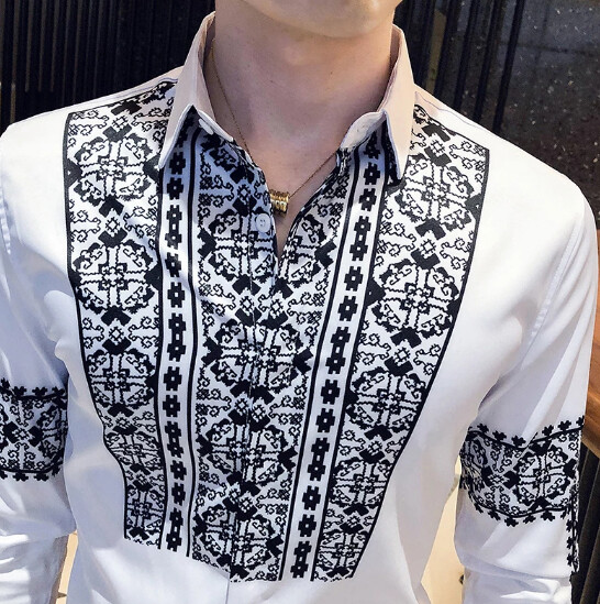 Luxury Retro Contrast Print Wedding Shirt Korean Style