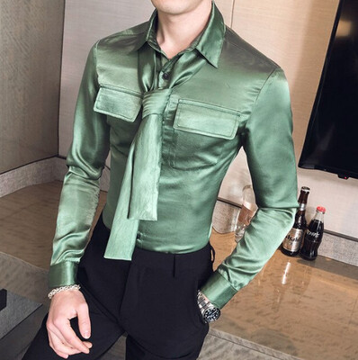 Men's Fashionable Solid Color Long-sleeved hombre Korean Style