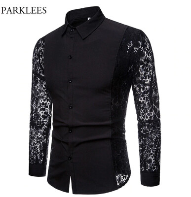 Camisa de encaje con bordado de flores para hombre Korean Style