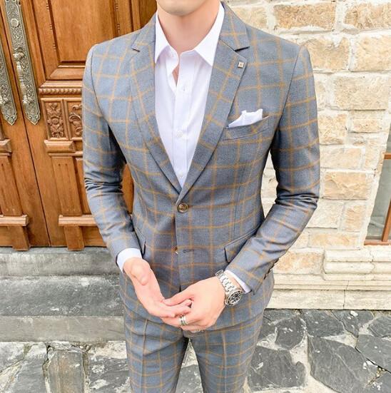 Chaqueta + Pantalones de primavera para hombre, traje nuevo a cuadros Korean Style