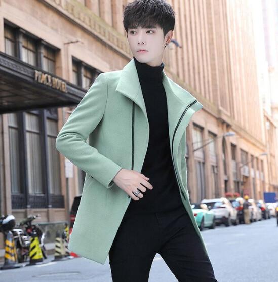 Gabardina larga informal ajustada para hombre, Camisa informal  Korean Style