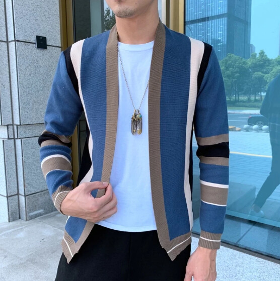 Suéter Cárdigan con contraste para Hombre, abrigo Korean Style
