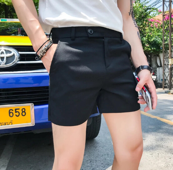 Negro/Gris verano sólido lado Shorts divididos ropa 2021