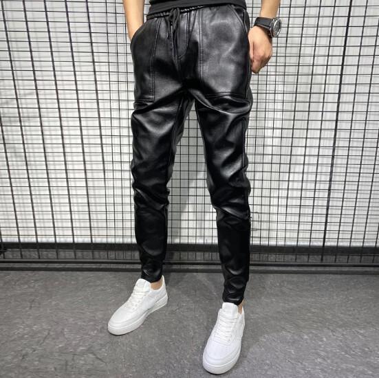 Pantalones de piel sintética gruesos y cálidos para hombre
