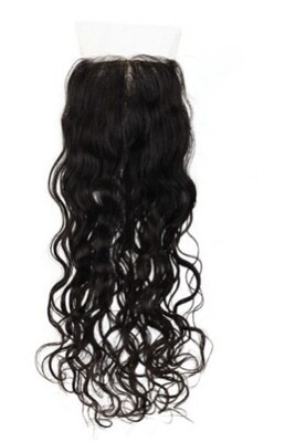 14″  Natural Curly Silk Top Indian Hair Closure #Natural