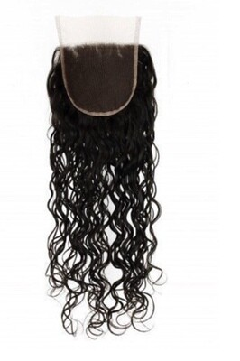 14″ Natural Curly Indian Hair Lace Closure #Natural