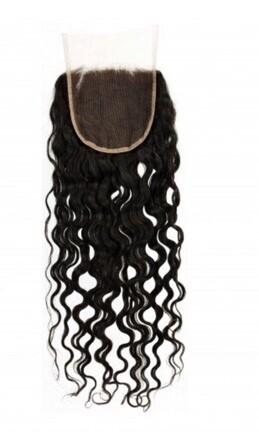 18″ Deep Curly Indian Hair Lace Closure #Natural