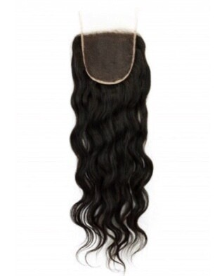 14″ Wavy Indian Hair Lace Closure #Natural