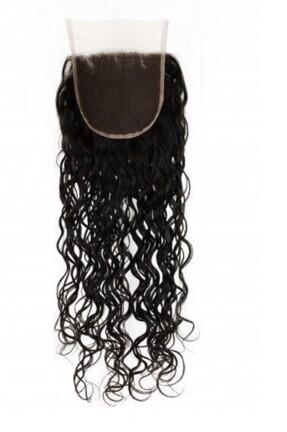 18″ Natural Curly Indian Hair Lace Closure #Natural