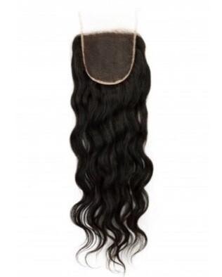 18″ Wavy Indian Hair Lace Closure #Natural