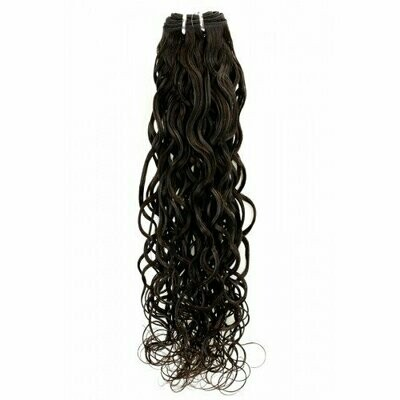 20″ Natural Curly Indian Hair Machine Weft