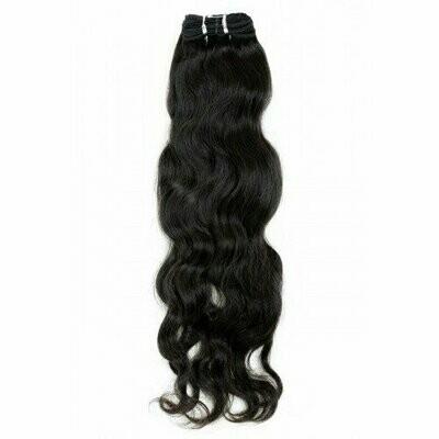 18″ Natural Wavy Indian Hair Machine Weft