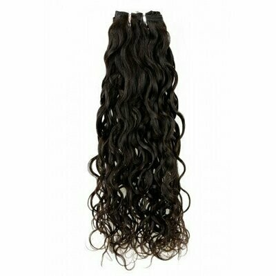 18″ Natural Curly Indian Hair Machine Weft