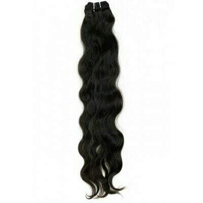 22″ Natural Wavy Indian Hair Machine Weft