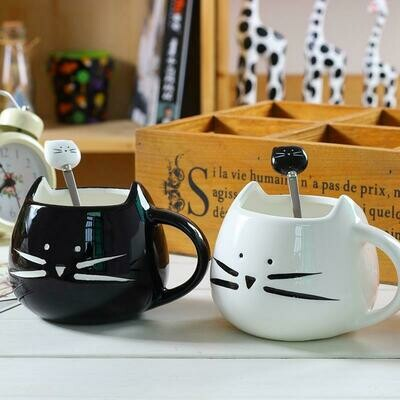 Ceramic Cute Cat Face Mug with Spoon for Cat Lovers
