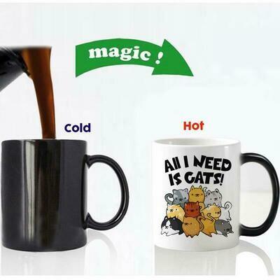 Cat Lovers Heat Sensitive Color Changing Ceramic Coffee Mug