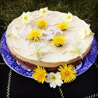 Raw Gorse Flower Frosted Carrot Cake