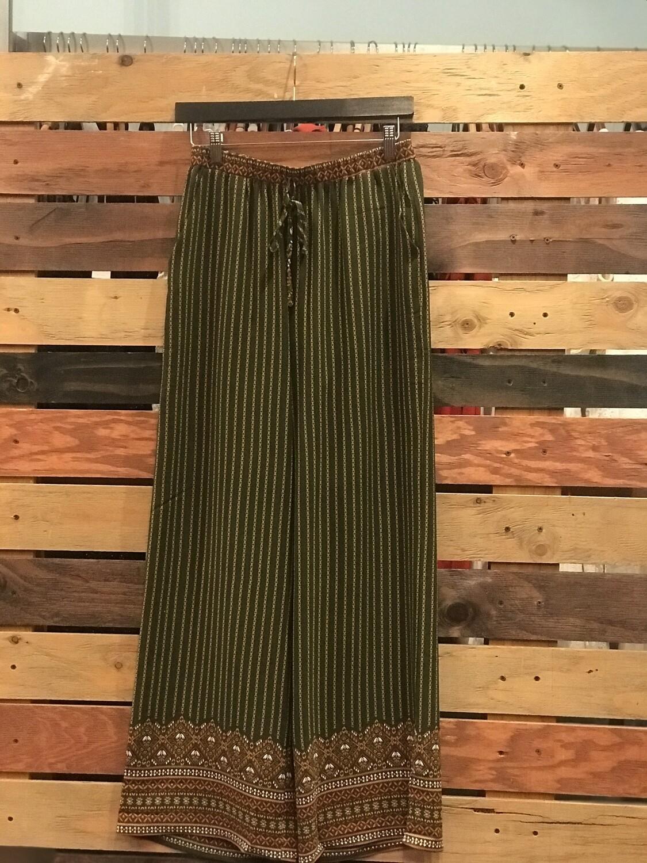 Aztec Print Olive Wide Leg Pants