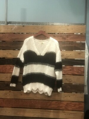 Black and Ivory Striped Sweater