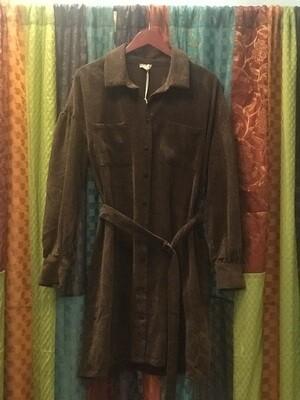 Brown Corduroy Dress with Belt