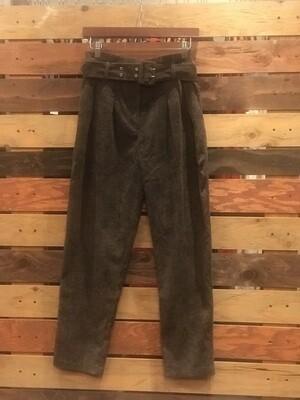 Brown paperbag waisted corduroy pants