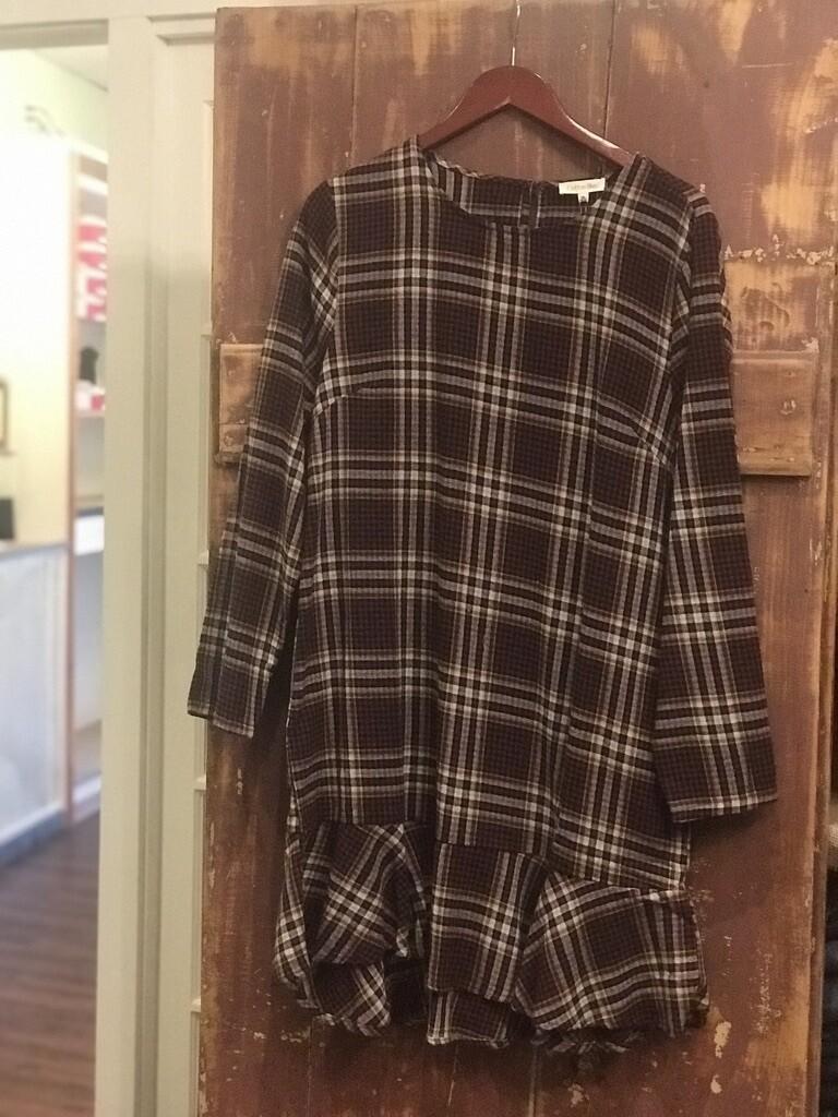 Burgundy Plaid Shift Dress w/Ruffle Bottom