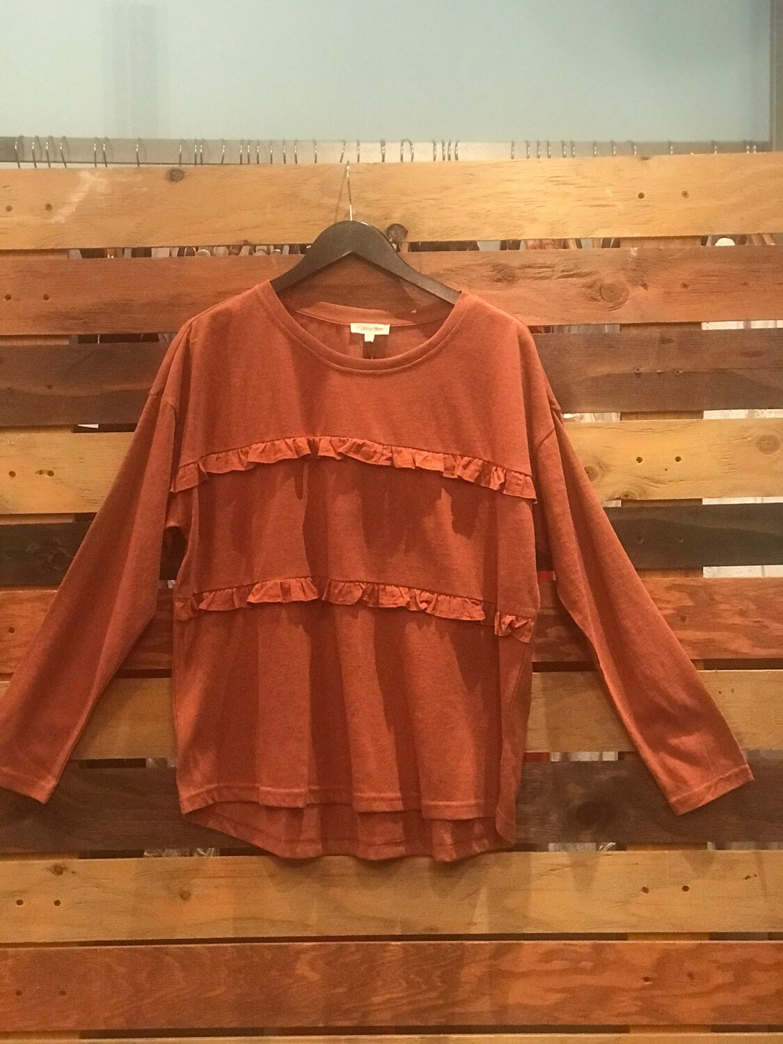 Canyon Clay Ruffle Embellished Front Top