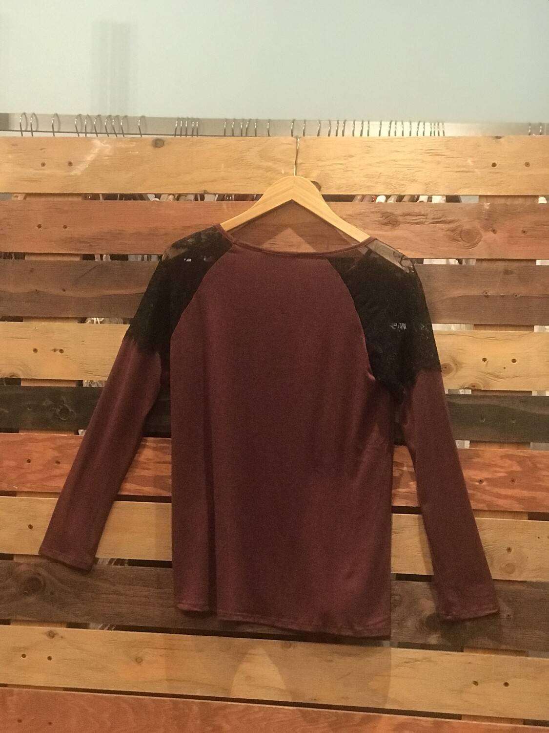 Chatoyant Burgundy Top with Lace Shoulders