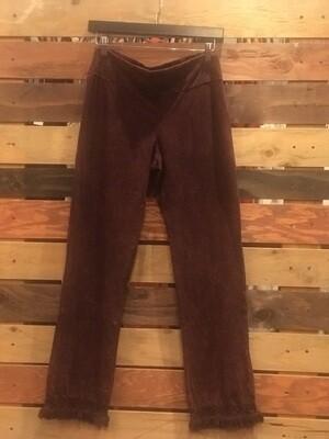 Chatoyant Burgundy Pants with Fringe