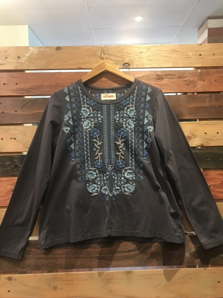 Driftwood Grey Long Sleeve Shirt with Embroidery