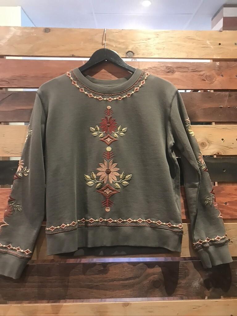 Driftwood Olive Sweatshirt w/Embroidery