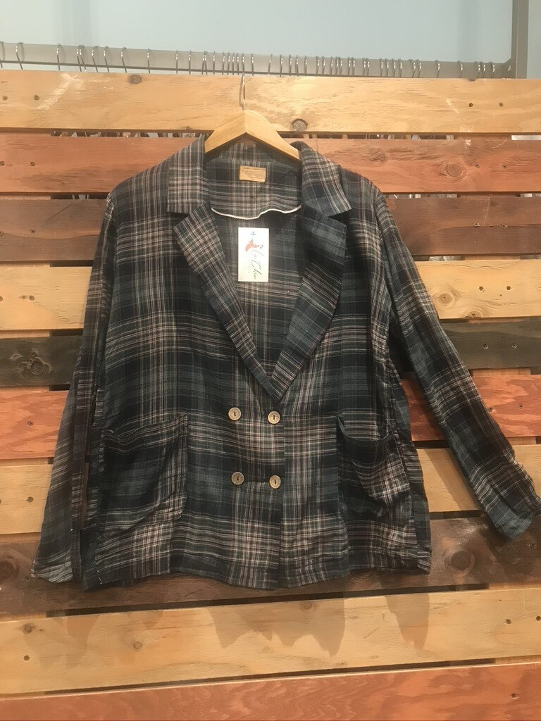 Green Plaid Double Breasted Jacket