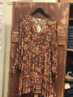 Hem & Thread Floral/Leopard Mix Mini Dress