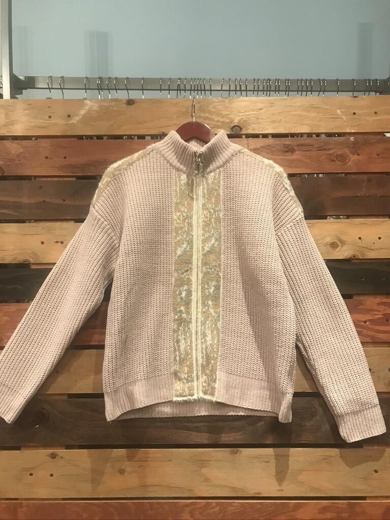 Hem & Thread Zip Up Sweater Jacket