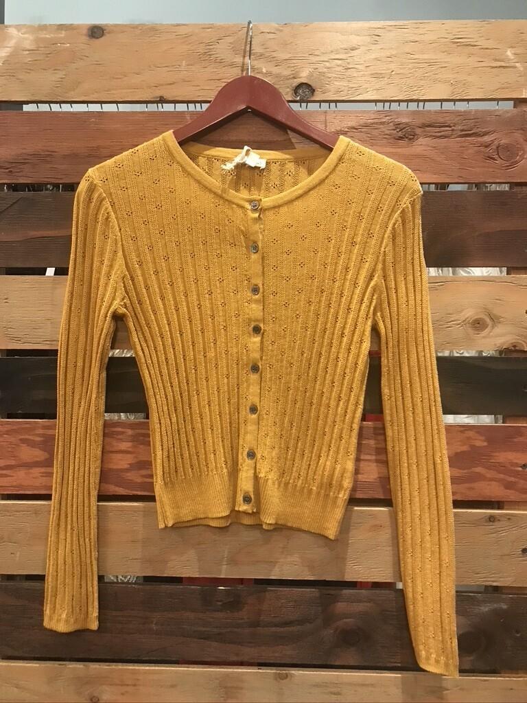 Mustard pointelle crop sweater