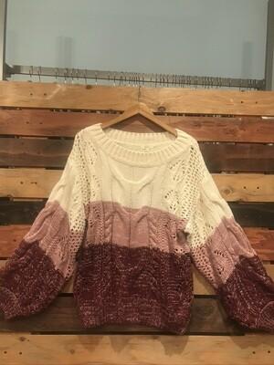 Mauve Color Block Sweater