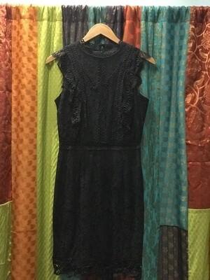 Mixed Lace Navy Mini Dress