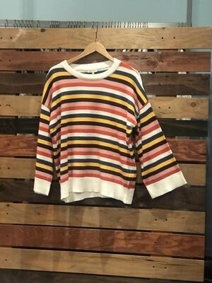 Multi Striped Sweater w/ Bell Sleeves