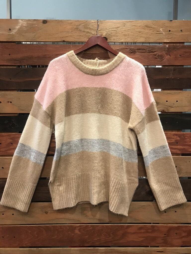 Hem & Thread Multi Colored Striped Sweater