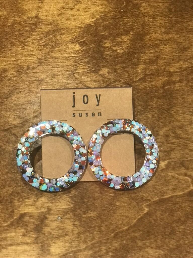 JS Blue Confetti Post Earring