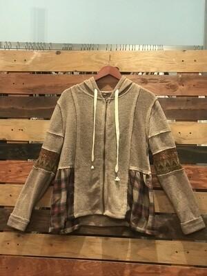 POL Brown Jacket w/ Plaid Front