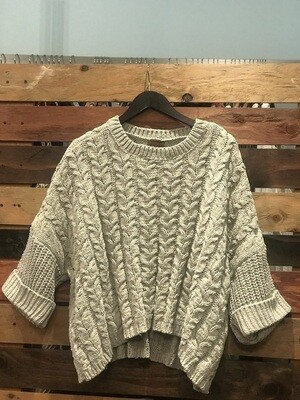 POL Cable Knit Sage Sweater